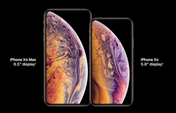 iPhone Xs og iPhone Xs Max.
