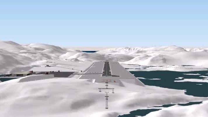 Flugvöllurinn við Qaqortoq, samkvæmt teikningu frá flugvallafélagi Grænlands, Kalaallit Airports.