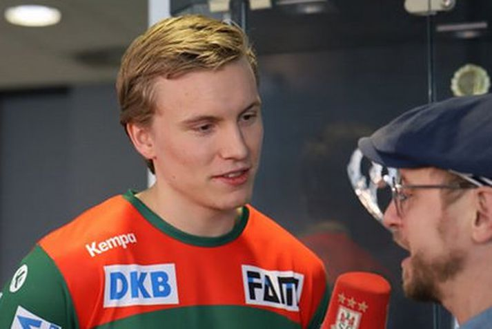 Gísli Þorgeir Kristjánsson í viðtali við Youtube-síðu Magdeburgar.