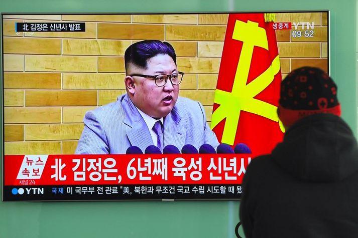 Kim Jong-un ávarpaði þjóð sína í gær.