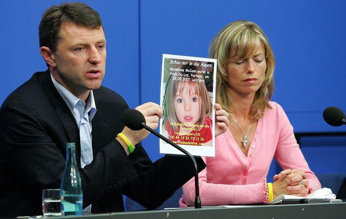 Kate and Gerry McCann foreldrar Madeleine á blaðamannafundi í Berlín árið 2007.
