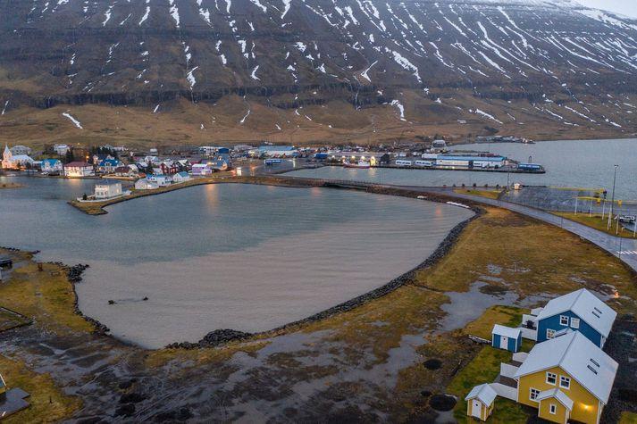 Frá Seyðisfirði þar sem mikið hefur rignt síðustu daga. Aurskriður hafa fallið úr sunnanverðum firðinum.