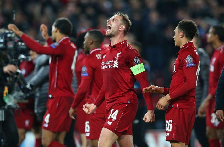 Jordan Henderson fagnar sigri Liverpool á Barcelona í fyrravor.