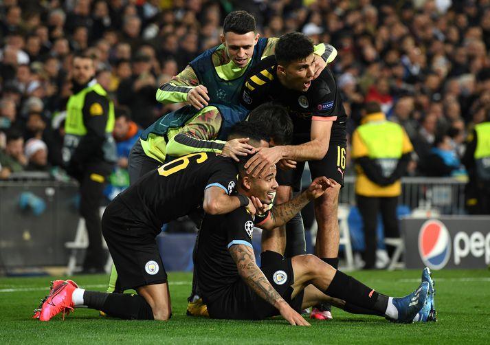 Gabriel Jesus skoraði fyrra mark Man. City og fiskaði svo Sergio Ramos af velli með rautt spjald.