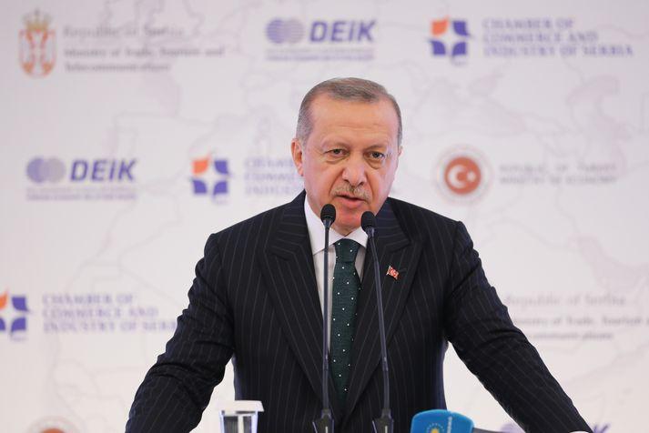 Erdogan kynnti kosingaáherslur sínar í dag.