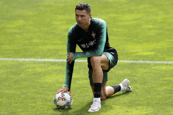 Ronaldo á æfingu með portúgalska landsliðinu.