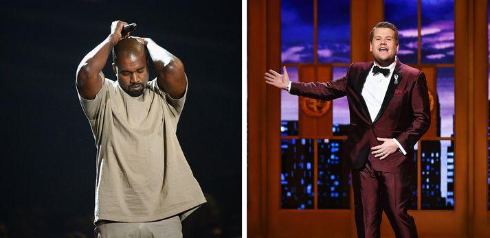 Kanye West og James Corden. Samsett mynd.