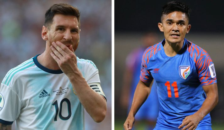 Lionel Messi og Sunil Chhetri.