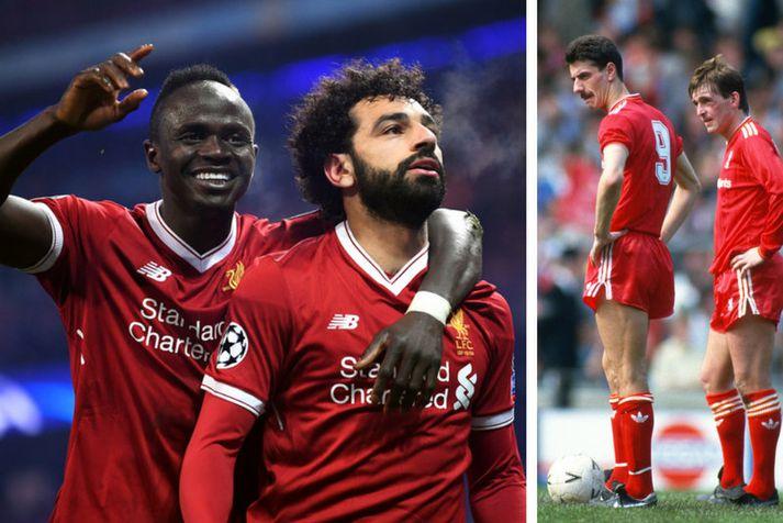 Sadio Mané og Mohamed Salah fagna en til hægri eru þeir Ian Rush og Kenny Dalglish.