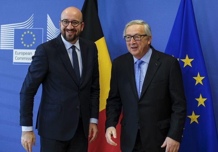 Charles Michel (t.v.) forsætisráðherra Belgíu og Jean-Claude Juncker, forseti framkvæmdastjórnar Evrópusambandsins