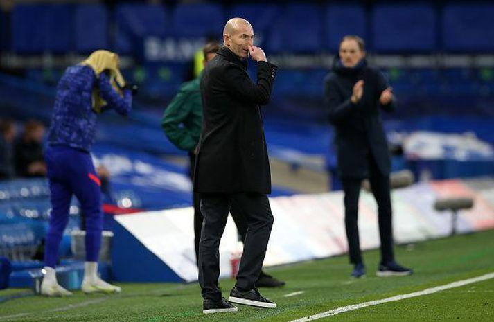 Zidane og Tuchel tókust ekki í hendur eftir leikinn í kvöld en óvíst er hvort að eitthvað ósætti hafi verið þeirra á milli.