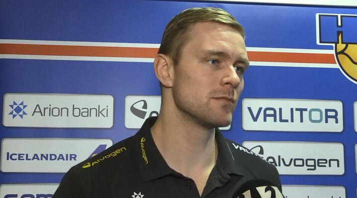 Aron Pálmarsson er einbeittur.