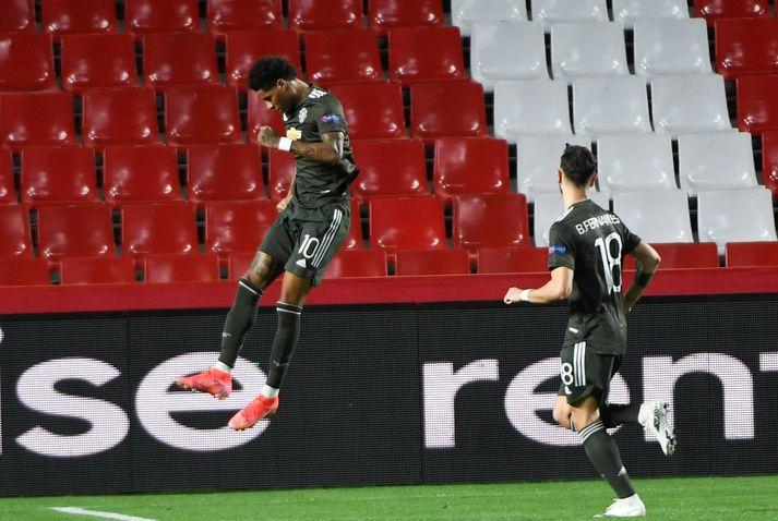 Marcus Rashford og Bruno Fernandes skoruðu mörk Manchester United í kvöld.