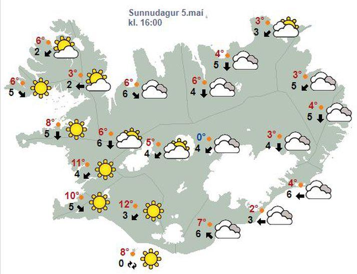 Svona er gert ráð fyrir að veðrið verði á landinu klukkan 16.00 í dag.