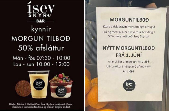 Margir viðskiptavinir Ísey Skyr Bar hafa nýtt sér hið fræga morguntilboð í nokkur ár. Nú verður breyting á og 50 prósent afsláttur mun víkja fyrir nýjum verðum.