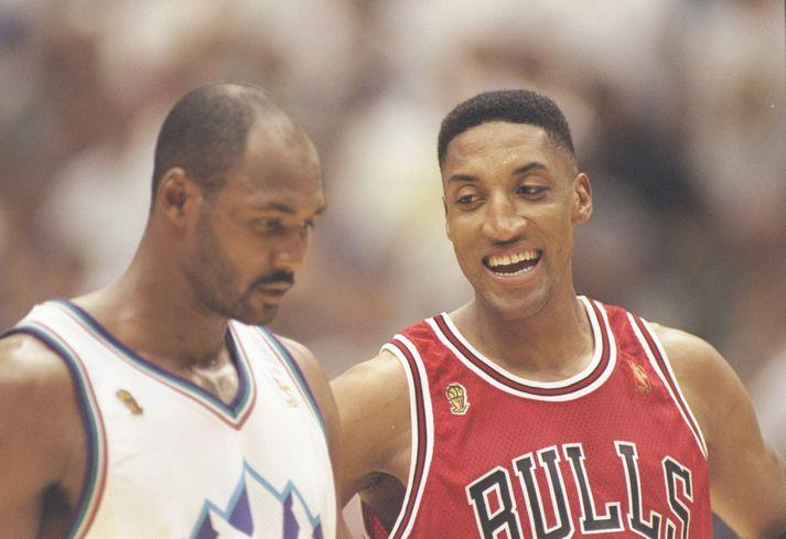 Pippen virðist hafa náð til Karl Malone í úrslitum NBA-deildarinnar árið 1997.