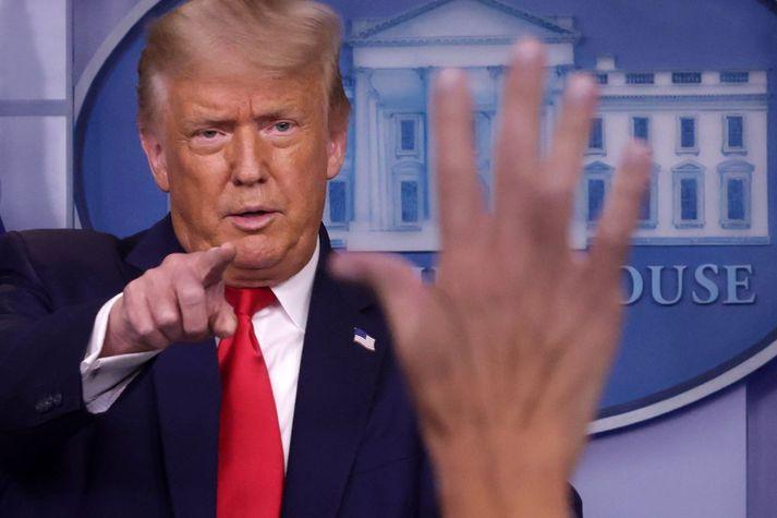 Donald Trump Bandaríkjaforseti tók við spurningum á fundinum í gær.