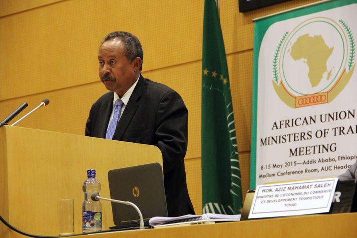 Abdalla Hamdok í pontu á fundi Fríverslunarsamtaka Afríkusambandsins í Addis Ababa í Eþíópíu árið 2015