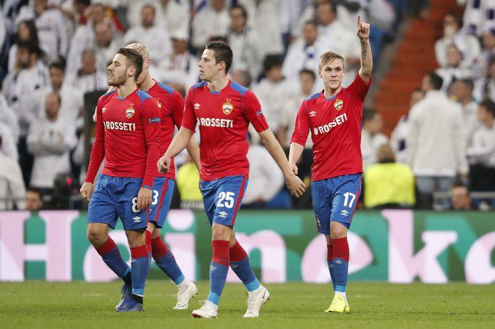 Arnór Sigurðsson fagnar marki sínu gegn Real Madrid á Santiago Bernabéu fyrir tveimur árum.