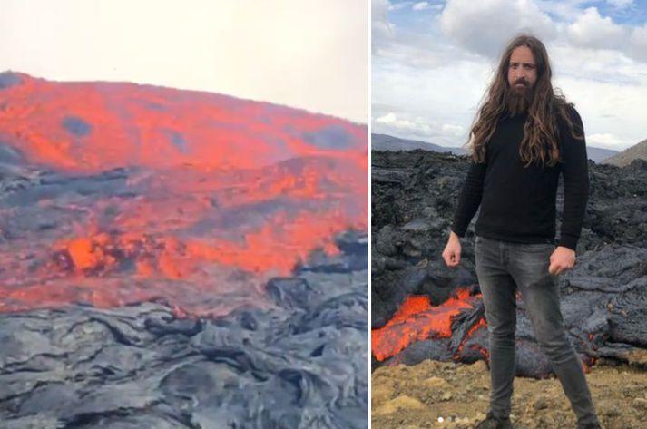 Maðurinn hefur birt myndband frá för sinni upp á gíginn, þar sem hraunið sést renna í átt að honum.