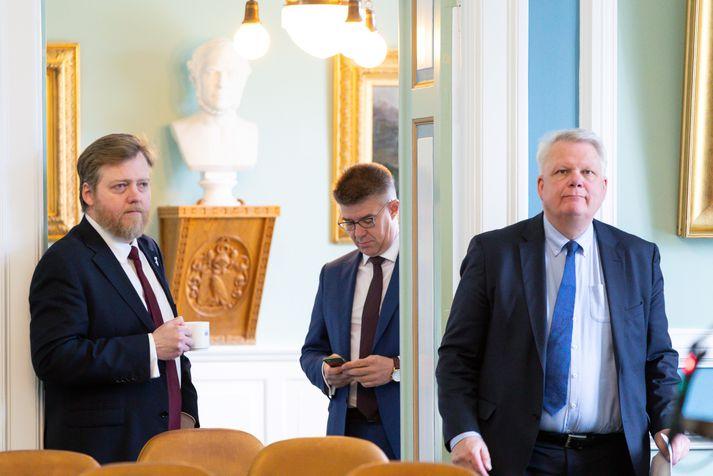 Sigmundur Davíð Gunnlaugsson, formaður Miðflokksins, og Gunnar Bragi Sveinsson og Ólafur Ísleifsson, þingmenn flokksins.