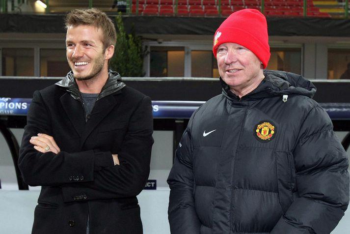 David Beckham og Sir Alex Ferguson.