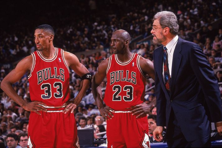 Scottie Pippen, Michael Jordan og Phil Jackson.