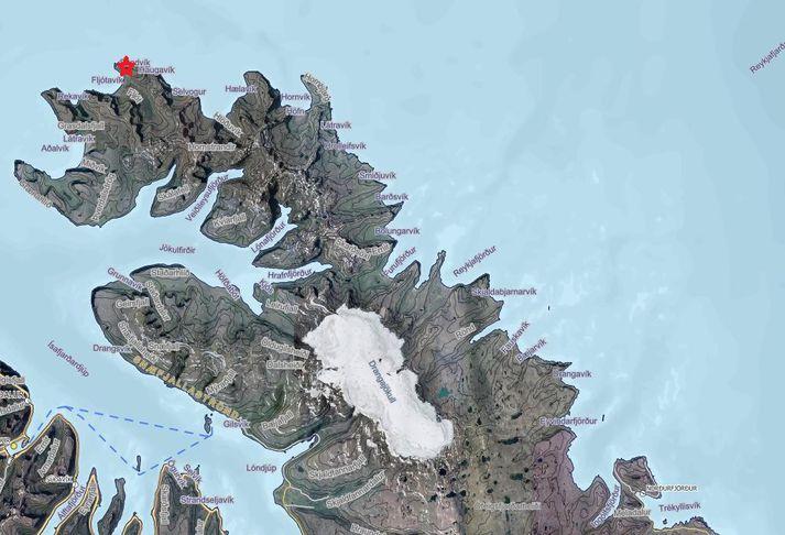 Kögur er merkt hér inn á kortið með rauðri stjörnu en báturinn var í vanda norður af Kögri.