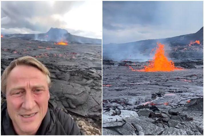 Agnar Guðmundsson var staddur við eldstöðvarnar í Geldingadölum síðdegis þegar kvikan fór að láta aftur á sér kræla.