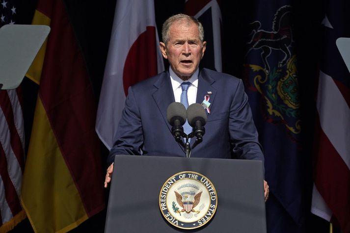 George W. Bush, fyrrverandi forseti Bandaríkjanna, í Pennsylvaníu í gær.