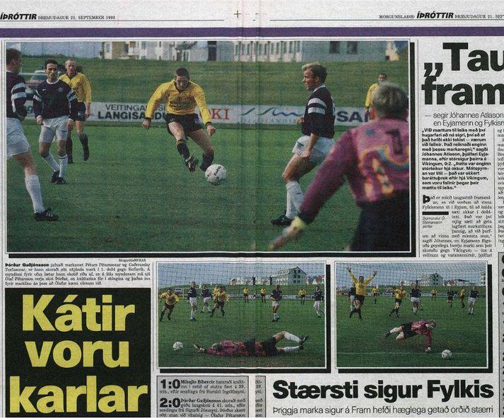 Morgunblaðið birti myndasyrpu af nítjánda marki Þórðar Guðjónssonar sumarið 1993 en það kom á móti Keflavík. Hér má sjá úrklippu úr opnu Morgunblaðsins þriðjudaginn 21. september 1993.