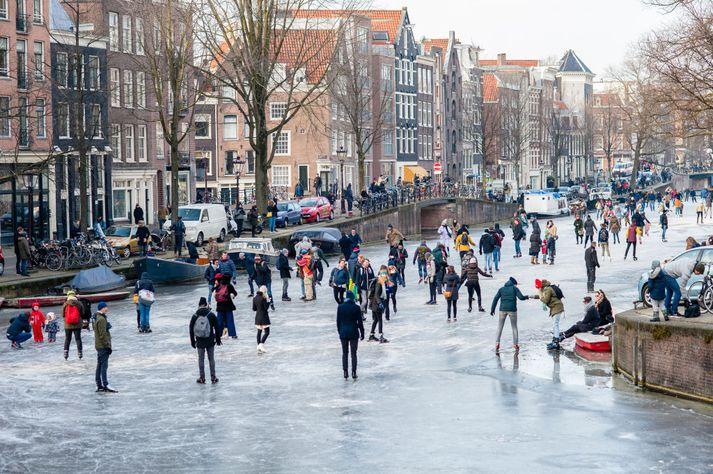 Allt var pikkfrosið í Amsterdam.