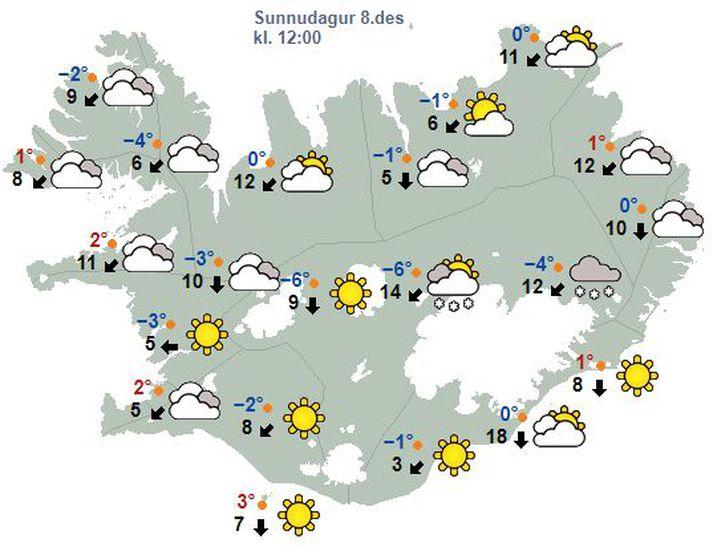 Má búast við dálítilli snjókomu eða éljum á Norður- og Austurlandi.