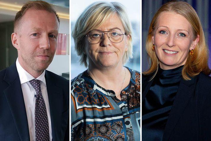 Benedikt Gíslason bankastjóri Arion banka, Birna Einarsdóttir bankastjóri Íslandsbanka og Lilja Björk Einarsdóttir bankastjóri Landsbankans.