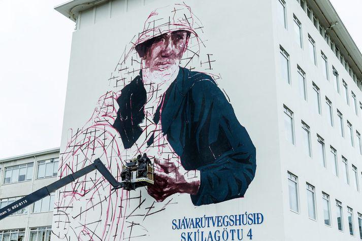 Verkið í mótun á vegg Sjávarútvegshússins árið 2015.
