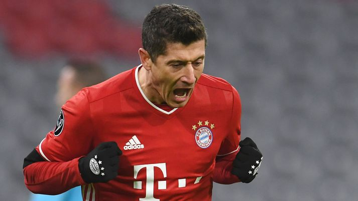 Robert Lewandowski fagnar í leik Bayern Munchen gegn FC Salzburg 2020.