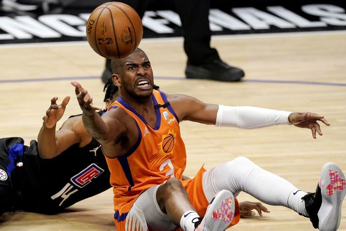 Chris Paul hefur aldrei orðið NBA meistari þrátt fyrir langan og glæsilegan feril og því hefur félag hans, Phoenix Suns, ekki heldur náð.