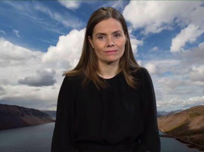 Skjáskot úr útsendingu Global Vaccine Summit í gær þar sem Katrín Jakobsdóttir forsætisráðherra tilkynnti um framlag Íslands.