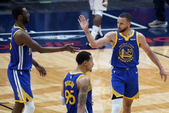 Stephen Curry var frábær í sigri Golden State Warriors á New Orleans Pelicans í nótt. 41 stig, átta þristar og átta stoðsendingar.
