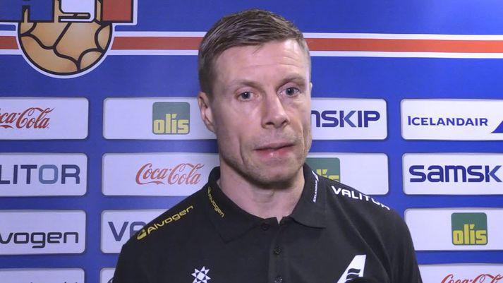 Guðjón Valur á blaðamannafundinum í gær.