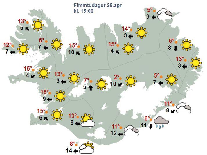 Vonandi geta sem flestir landsmenn notið veðurblíðu á fimmtudaginn.
