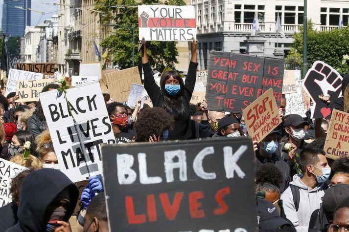 Black Lives Matter mótmælaganga í Liege í Belgíu.