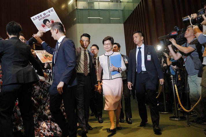 Carrie Lam er ekki sú vinsælasta í Hong Kong.
