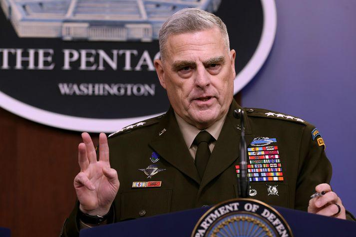 Mark Milley ræddi við blaðamenn í Pentagon í dag.