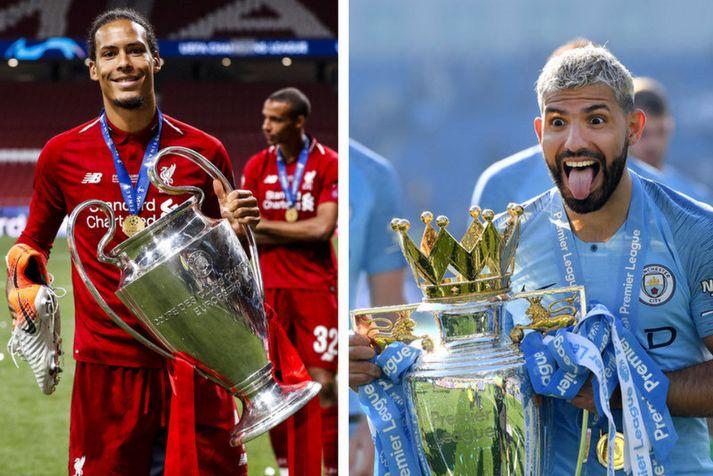 Virgil van Dijk hjá Liverpool og Sergio Aguero hjá Manchester City.