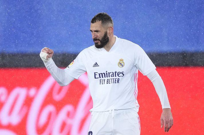 Karim Benzema skoraði tvö mörk Madrídinga í dag.