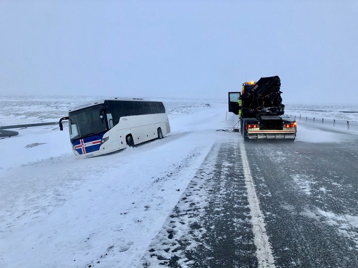 Frá vettvangi á Suðurlandsvegi í morgun.