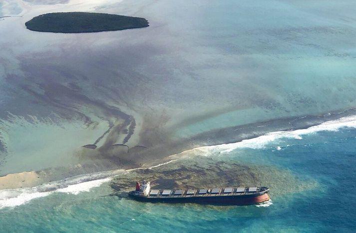 Skipið, MV Wakashio, strandaði á kóralrifi í Indlandshafi þann 25. júlí síðastliðinn og síðan hafa mörg tonn af olíu lekið úr skipinu.