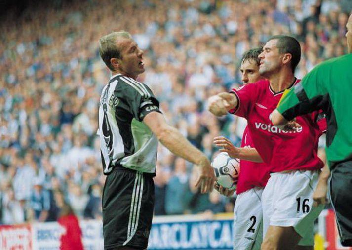 Shearer og Keane er atvikið umdeilda átti sér stað.