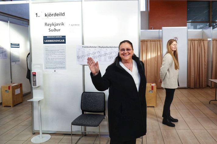 Inga Sæland, formaður Flokks fólksins, segjast sjaldan hafa verið ánægðari.